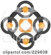 Royalty Free RF Clipart Illustration Of An Abstract Black And Orange Logo Icon 8 by Qiun