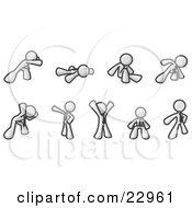 Clipart Illustration Of A White Man Doing Different Exercises And Stretches In A Fitness Gym