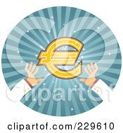 Royalty Free RF Clipart Illustration Of A Pair Of Hands Reaching For A Euro Symbol Over Blue Rays by Qiun