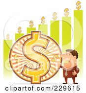 Royalty Free RF Clipart Illustration Of A Wealthy Businessman By A Large Dollar Symbol And Green Bar Graph