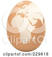 Royalty Free RF Clipart Illustration Of A Brown Egg With An African Map On It 2