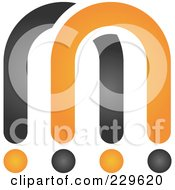 Royalty Free RF Clipart Illustration Of An Abstract Black And Orange Logo Icon 6