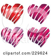 Royalty Free RF Clipart Illustration Of A Digital Collage Of Matte And Shiny Ribbon Hearts