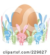 Royalty Free RF Clipart Illustration Of Colorful Paper Bunnies Holding Hands Around An Egg by Qiun