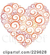 Royalty Free RF Clipart Illustration Of A Sketched Swirl Heart