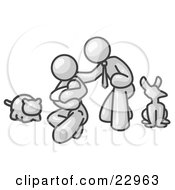 White Family Father Mother And Newborn Baby With Their Dog And Cat
