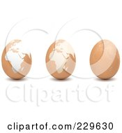 Royalty Free RF Clipart Illustration Of A Digital Collage Of Brown Eggs With African Maps