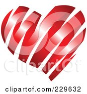 Royalty Free RF Clipart Illustration Of A Shiny Red Ribbon Heart by Qiun #COLLC229632-0141