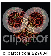 Royalty Free RF Clipart Illustration Of A Sketched Swirl Heart On Black