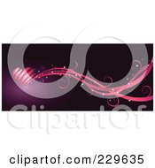 Royalty Free RF Clipart Illustration Of A Pink Ribbon Heart And Waves Over Purple