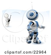 White Man Inventor Operating A Blue Robot With A Remote Control by Leo Blanchette