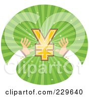 Royalty Free RF Clipart Illustration Of A Pair Of Hands Reaching For A Yen Symbol Over Green Rays by Qiun