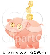 Happy Piggy Bank With Coins And Dollar Eyes