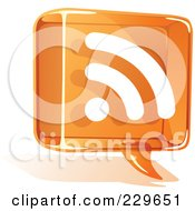 Royalty Free RF Clipart Illustration Of An Orange Glass Rss Balloon Icon
