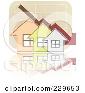 Royalty Free RF Clipart Illustration Of A Decline Graph Behind Houses