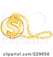 Royalty Free RF Clipart Illustration Of A Golden Dollar Necklace Pendant by Qiun