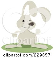 Royalty Free RF Clipart Illustration Of A Cute Gray Rabbit Waving by Qiun