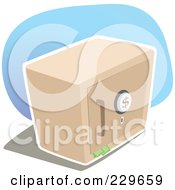 Royalty Free RF Clipart Illustration Of A Metal Safe Box With Money Sticking Out Of The Door by Qiun