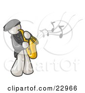 Clipart Illustration Of A Musical White Man Playing Jazz With A Saxophone