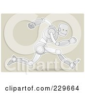 Royalty Free RF Clipart Illustration Of A Metal Robot Sprinting On Beige