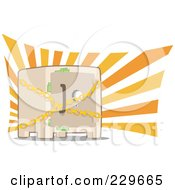 Royalty Free RF Clipart Illustration Of A Chained Safe With Money Sticking Out Of The Door by Qiun