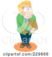 Royalty Free RF Clipart Illustration Of A Timid Businessman