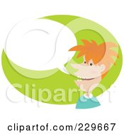 Royalty Free RF Clipart Illustration Of A Red Haired Man Over A Gree Oval With A Word Balloon