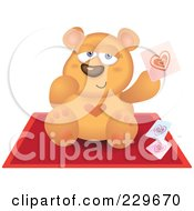 Royalty Free RF Clipart Illustration Of A Teddy Bear Holding Up A Heart Card