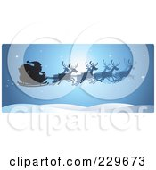 Royalty Free RF Clipart Illustration Of A Blue Christmas Reindeer And Santa Sleigh Border