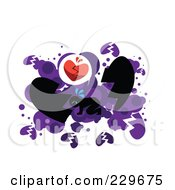 Royalty Free RF Clipart Illustration Of A Broken Hearted Man On His Hands And Knees Over White And Purple by mayawizard101