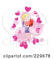 Woman Holding A Heart Over Pink And White 1