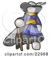 Clipart Illustration Of A White Male Pirate With A Cane And A Peg Leg