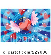 Royalty Free RF Clipart Illustration Of A Winged Angel Heart Over Blue Rays