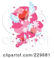 Royalty Free RF Clipart Illustration Of Winged Angel Hearts Over Pink And White 1