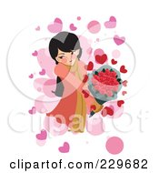 Blushing Girl Holding Flowers Over Pink And White