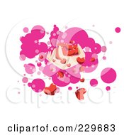 Hand Holding Tiny Red Hearts Over Pink And White