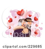 Royalty Free RF Clipart Illustration Of A Happy Winter Couple Over Hearts On White