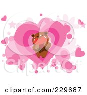 Teddy Bear Holding A Heart Over Pink Hearts And Stars On White