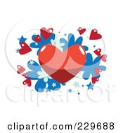 Red Heart And Little Hearts Over Blue Stars And Flowers On White