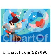 Royalty Free RF Clipart Illustration Of A Businessman Chasing Winged Hearts On Blue