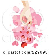 Hand Dropping Hearts Over Pink And White