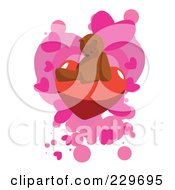 Lonely Teddy Bear Sitting On A Heart Over Pink Hearts On White