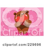 Royalty Free RF Clipart Illustration Of A Teddy Bear Holding A Heart Over A Pink Heart Background by mayawizard101