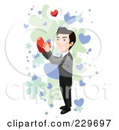 Royalty Free RF Clipart Illustration Of A Happy Man Holding A Heart Over Blue Green And White