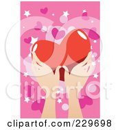 Royalty Free RF Clipart Illustration Of Hands Holding A Big Heart Over A Pink Background