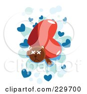 Royalty Free RF Clipart Illustration Of A Big Heart Crushing A Teddy Bear Over Blue Hearts On White by mayawizard101