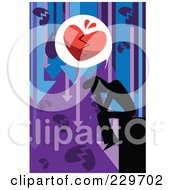 Royalty Free RF Clipart Illustration Of A Sad Man With A Broken Heart And Down Arrows by mayawizard101