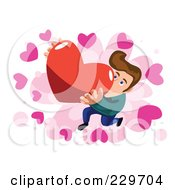 Man Presenting A Big Heart Over Pink And White