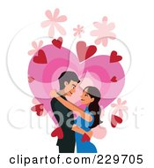 Royalty Free RF Clipart Illustration Of A Couple Over Hearts On White