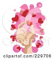 Hand Holding A Heart Over Pink And White
